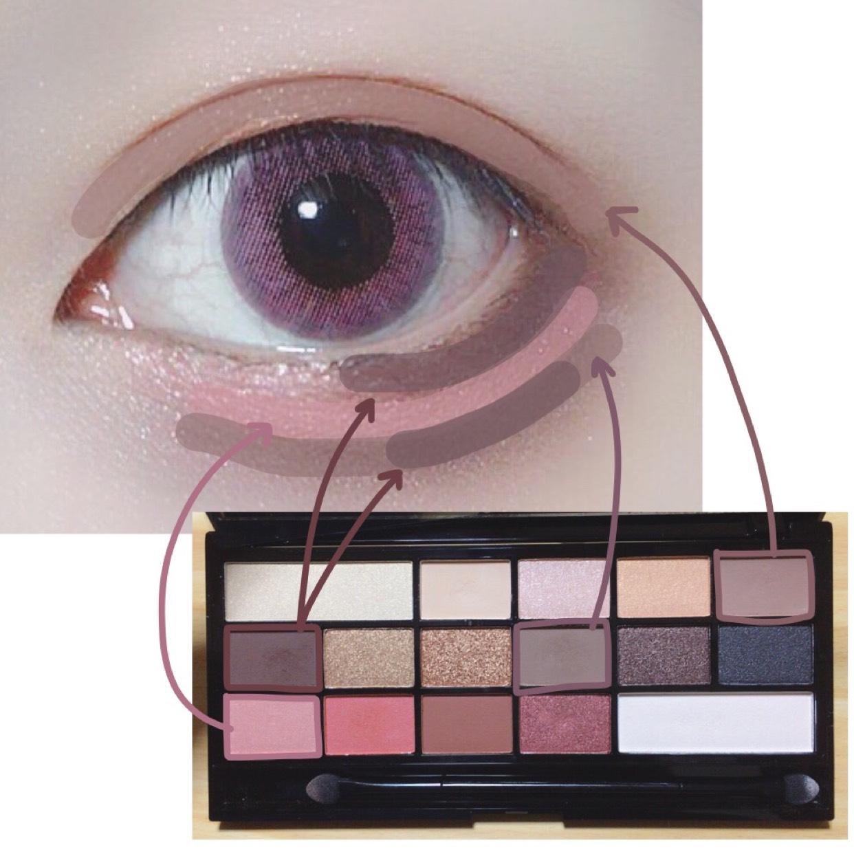 二重幅にブラウン。 下瞼の目尻にタレ目になるよう濃いブラウンを入れて薄ピンクを(最後にベージュを入れるので目頭は塗らない)。  涙袋の影は目のカーブではなく目尻の濃いブラウンのカーブに合わせて描きます! 目の真ん中より外側が濃くなるように2色使います。(タレ目に見えます)