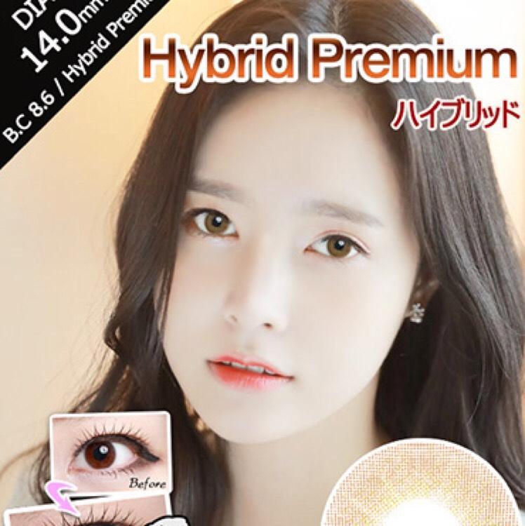 Hybrid Premium brown(アイレンズ) DIA 14.0mm 直径13.0mm BC 8.6 使用期間6ヵ月~1年