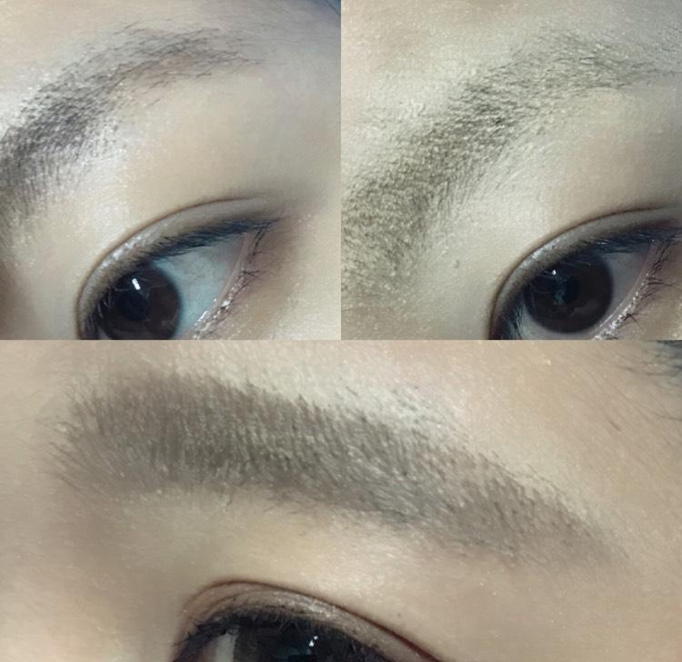 眉毛はこんな感じ! 元々の形やばいので、コンシーラーで消して、平行眉毛を描きました!!