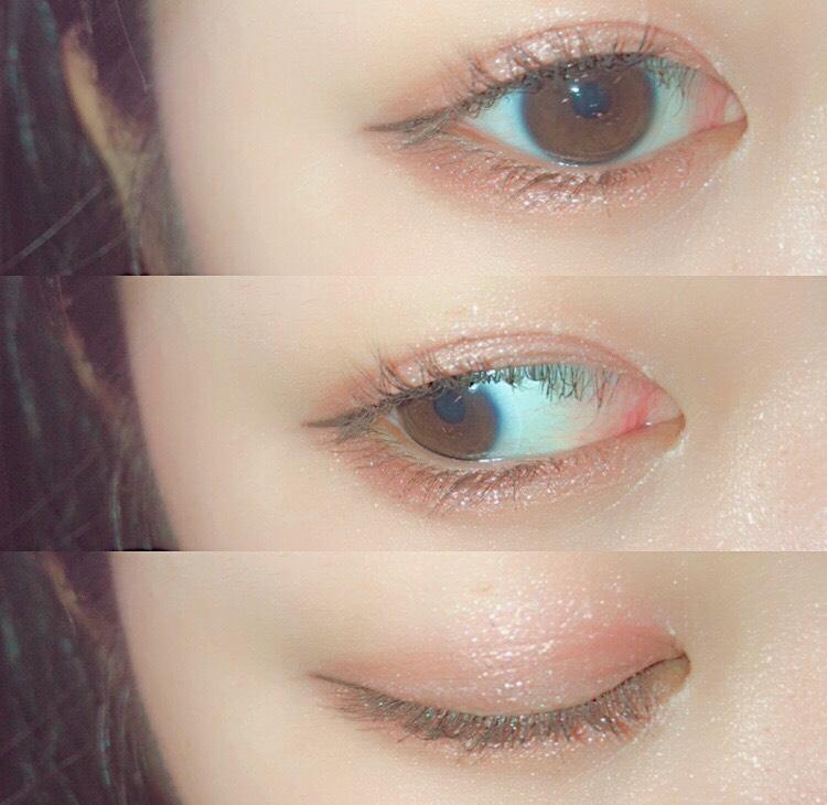 黒目の上と下まぶた全体にシルバーのピグメントを塗ります  下まぶたは黒目の下だけすこし多めでなるべくキワの方に塗るようにすると目がうるうるして見えます!