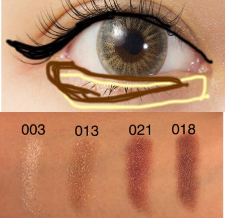 黄色が03 茶色が018  アイラインは太すぎない長すぎないように 目頭は描いてもOk まぶたには引かないようにして まつ毛の間を埋めていく感じで^_^