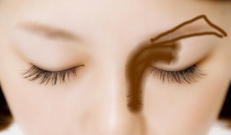 眉毛は 大げさに描いたらこんな感じ!目尻側が太くなっていく感じ!ノーズシャドーも うまくぼかしてね