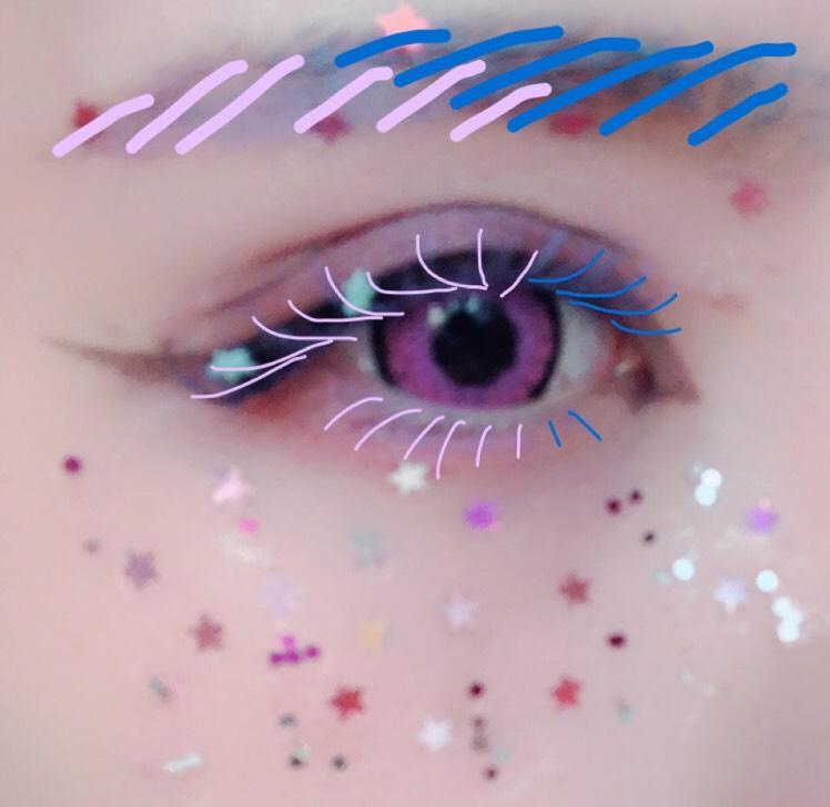 つけまつけた後に、マスカラぐわっと塗ります(眉にも)  眉毛のコンシーラーをまつ毛と眉毛にぬってからカラーマスカラ  今回は薄紫と青ですが雰囲気で何色でもOK アイシャドウの色と合わせるとまとまりが良くなります