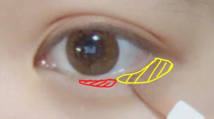 目尻部分(黄)にゴールド、黒目の下(赤)に赤やピンクのシャドウをいれます。