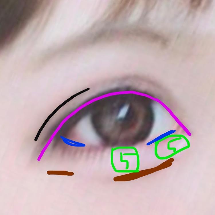 涙袋の影を、ブラウン系のアイシャドウとかアイブローで書きます。 わたしはダブルフェイカーラインでかいてすこーしぼかしました\❤︎/ 青の部分にはピンクのアイラインで粘膜を埋めデカ目効果(✌'ω' ✌) ダブルラインもほんとにたれ目に!