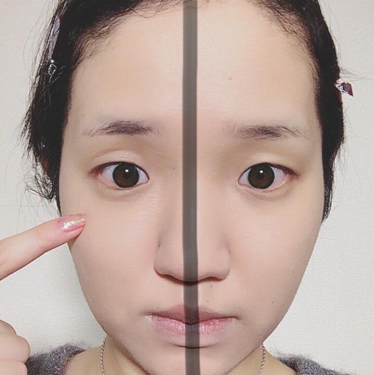 左が塗った方です。くまや赤みが消えます♡指でタップするようにのせるのがコツです。眉毛しにも使えるくらいのマルチコンシーラーなのでカバー力と密着力がとても高いので最近のお気に入りです。