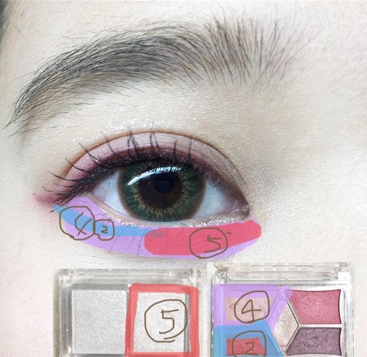 キャンメイク(ジュエリーシャドウベール、スタイリストアイズ14)  涙袋に④を塗り黒目と目尻を繋がるように②で線を書きます。そして目頭から⑤のラメを綿棒で塗ります