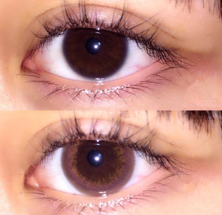 裸眼と比べるとこんな感じです。  LARMEはでかいイメージがあってですが、graphicは変わんないんですけど。  メルティはくすみ系の色味なので瞳に馴染みやすいです。なので小さく見えるのかなって思います。