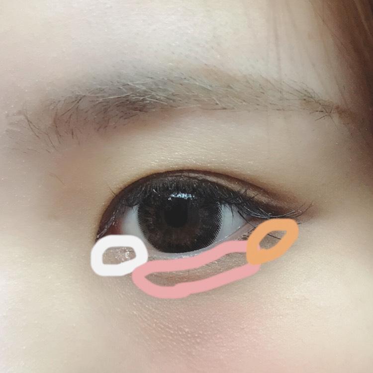 白=ラメや明るい色をのせてうるうるした目元に。 ピンク=ピンクを軽くのせて血色感をアップさせます。 オレンジ=締め色を目尻側3分の1くらいにのせ、目の幅を大きく見せます。