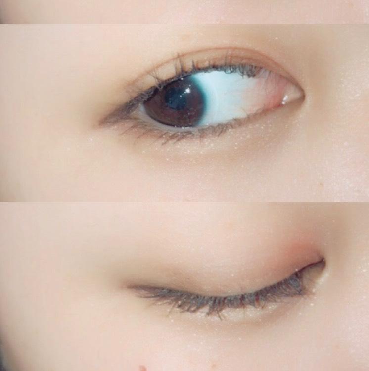 アイホール全体にホワイトカラーを載せたあと目頭側に赤みブラウンをのせ、目尻側には濃いめのブラウンを載せます(目尻側は気持ち細めに)  下まぶたにもホワイトカラーをのせ、目尻3分の1には目頭側に塗ったものと目尻側に塗ったものを混ぜてぬります