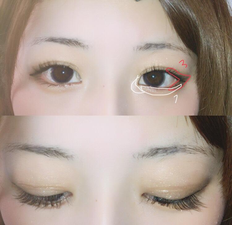 アイラインは目を閉じてまぶたの延長でかきます アイラインが乾いたら1で涙袋と目頭にくの字で入れて3の濃い色を写真のとおりに塗ると目が大きく見えます!