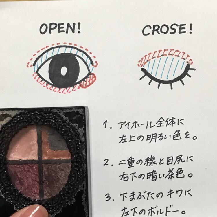 ↑わかりにくいので図解するとこんな感じ。 この塗り方をすると二重がかなりハッキリします!  下瞼のくすみが気になる人は、ボルドーのシャドウを入れる前に、右上の色を下瞼全体に入れるとくすみがとれる!と思う!