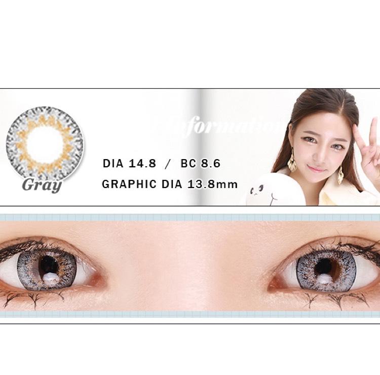 次は、韓国のカラコンサイト、THE PIEL様のシェリエグレーのカラコンです!  6ヵ月〜1年使用 2枚入り DIA 14.8mm 着色直径 13.8mm 777円(THE PIEL)+送料 BC 8.6mm