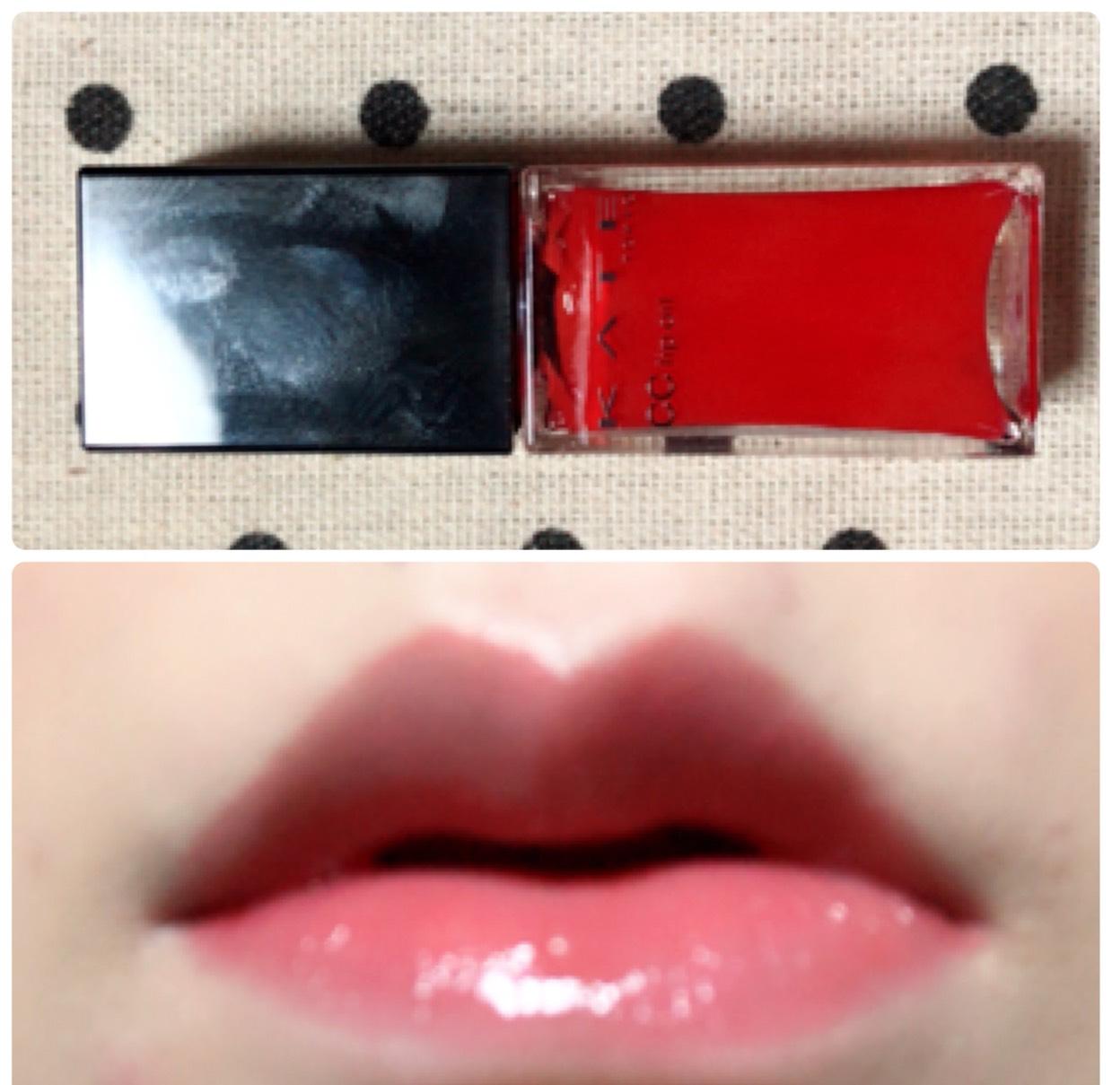 KATEのリップオイルを塗って手持ちの赤リップを内側に塗ります。