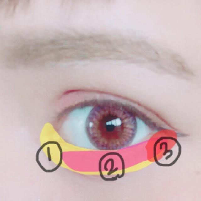 ①ハイライト ②ピンク  ③赤(濃いめのピンク)