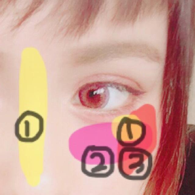 ①鼻筋にハイライト、頬にハイライトを入れます ②薄目のピンク(オレンジ)をのせます ③濃いめのピンクをのせます