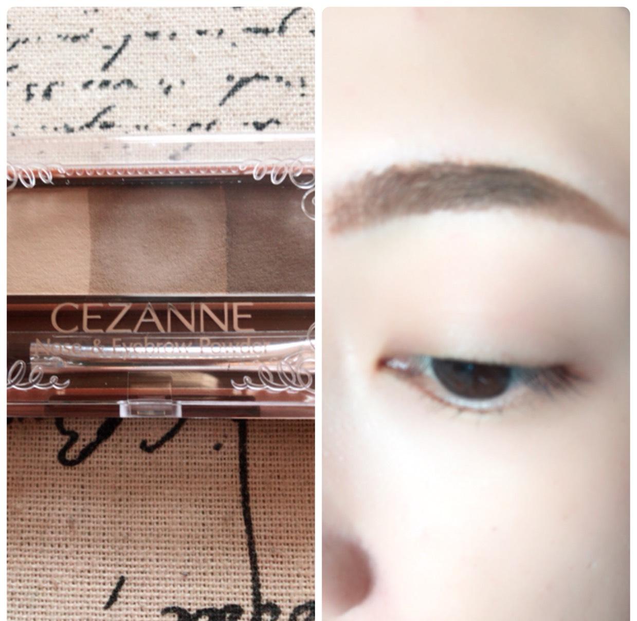 眉マスカラを塗り、足りない部分をパウダーでふんわりと書き足していきます。