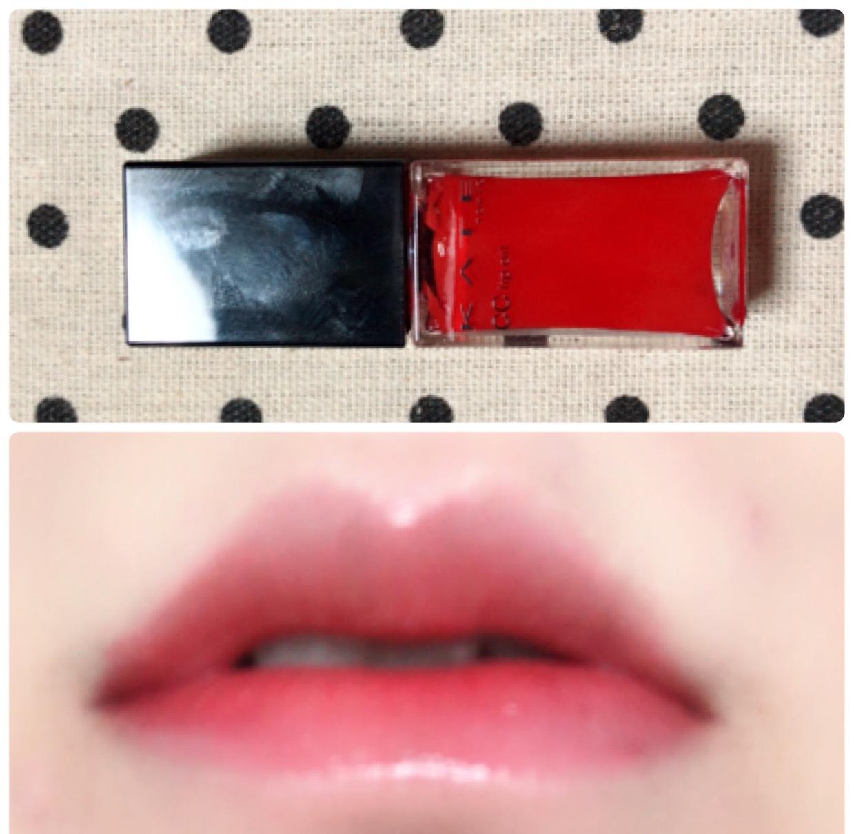 KATEのCCリップオイルを塗って手持ちの赤リップを内側に塗ります。