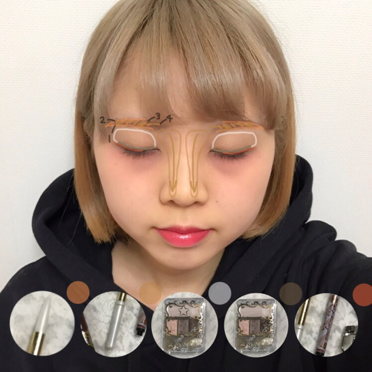 ♡アイメイク手順♡  眉ペンシル→眉パウダー→アイシャドウ(白)→アイシャドウ(こげ茶)→アイライン