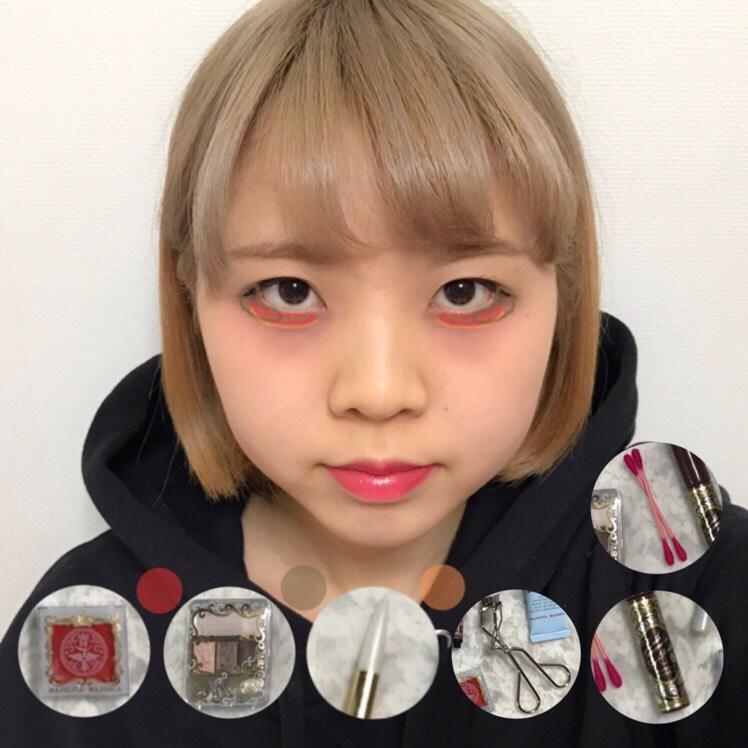 ♡アイメイク手順♡  ビューラー→マスカラ→チーク→アイシャドウ(こげ茶)→眉ペンシル