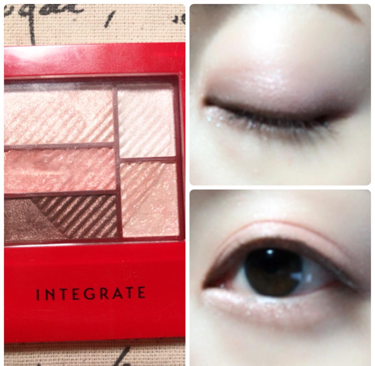 ハイライトをアイホール全体に塗り、二重幅と涙袋にピンクを、目の際と涙袋の影にブラウンを使用します。