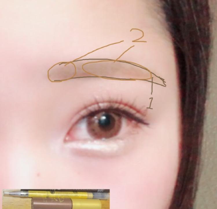 1.ペンシルでラインを書く。 2.パウダーでうめてブラシでぼかしてから毛に逆らうように眉マスカラを塗る。そして毛に沿ってマスカラを塗る。