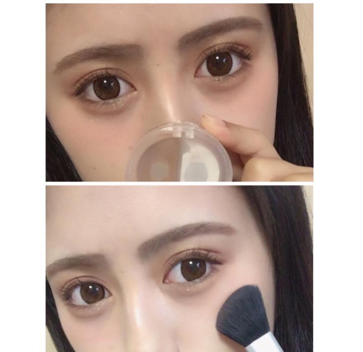 鼻筋、目頭にハイライトを 目のすぐ下にチークを塗ります
