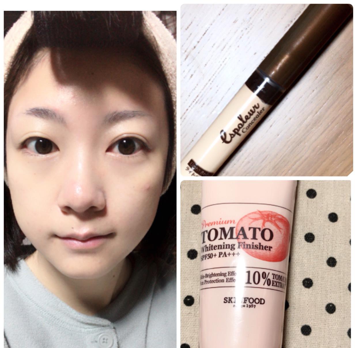 SKINFOODのトマトの下地を顔全体から首まで塗り、気になるところにコンシーラーを使用します。