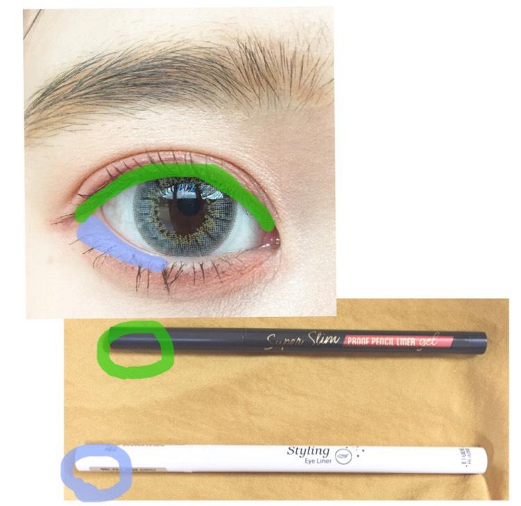 エチュードハウス スーパースリム プルーフジェルペンシルライナー(ローズブラウン)緑 ・エチュードハウス スタイリングアイライナー#2WH青  緑の方を粘膜に塗り青の方を目尻のキワに引きます