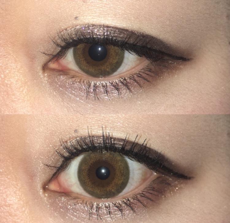 下瞼も同じブラウンで、目の際に沿って目尻に1/3塗る。目頭~中央にかけては、エチュードハウスのピンクベージュのライナーを沢山塗る。