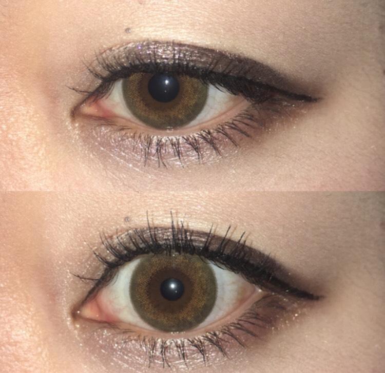 二重幅に明るめのブラウンを塗ってから、目尻~中央にかけて一番濃いブラウンを塗り、グラデーションになるように暈していく。 そのあと、瞼全体にラメを乗せる。