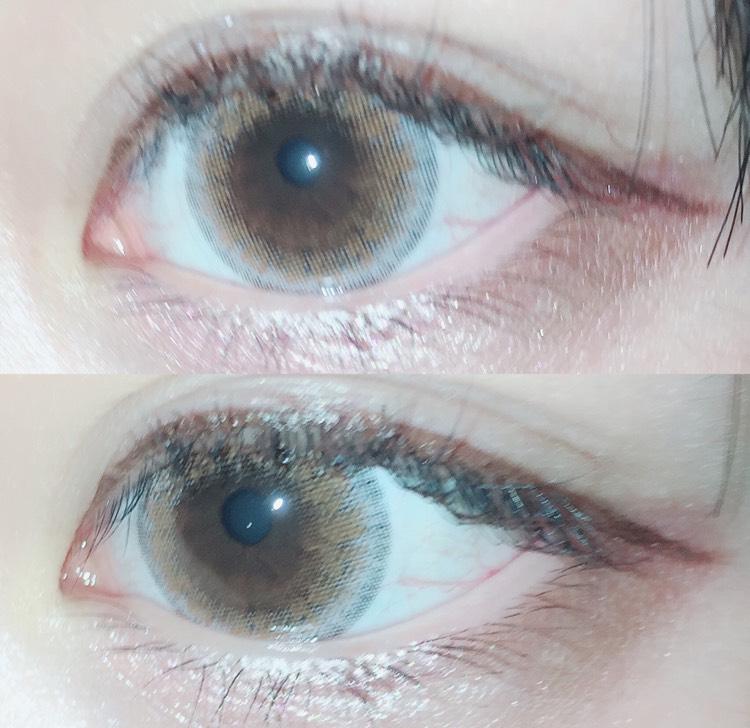フラッシュ有りで撮るとこんな感じです。自分の裸眼の色とカラコンのオレンジの部分が馴染んでくれて、自然にデカ目に見せてくれます。