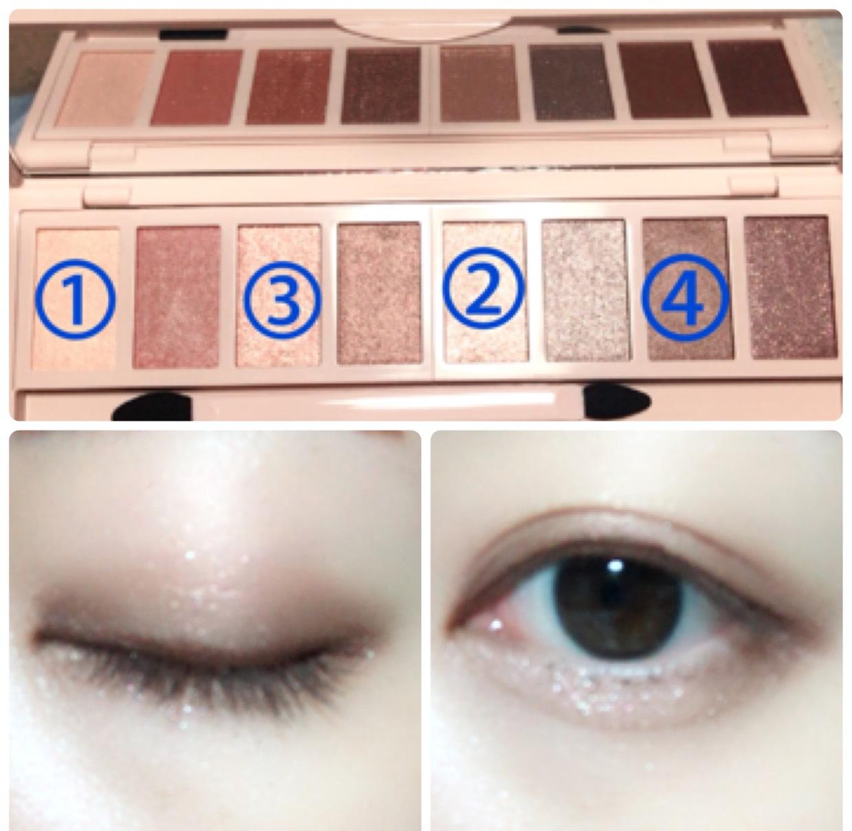 アイホール全体に①を、二重幅と涙袋に②を塗り、立体感を出すために二重幅目頭側と目尻側に③を塗ります。 目の下目尻側にも③を塗り、目の際に④をラインのように引きます。 涙袋の影になるところにKATEのダブルラインフェイカーを使用します。