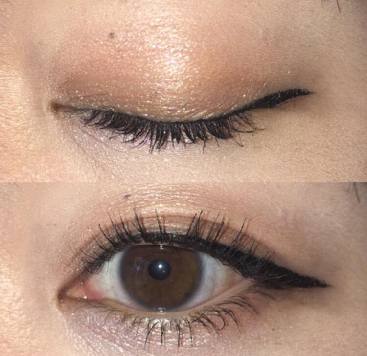 ファンデーションまで終わったら、オレンジのラメ入りシャドウを瞼全体に塗る。下瞼の目尻にも同じ色を塗る。