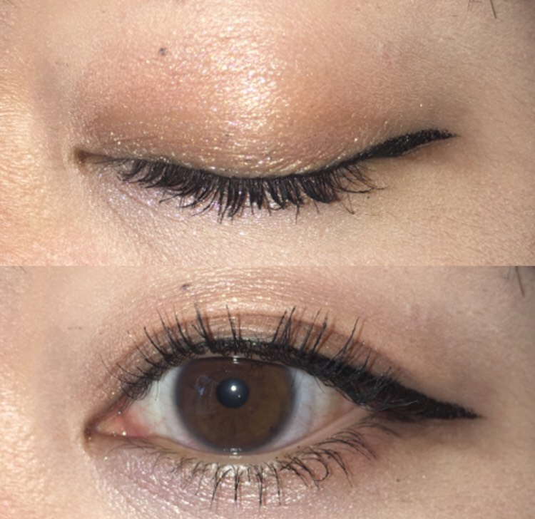 下瞼の目頭~真ん中には、シルバーのラメ入りシャドウを塗ってから、ライナーを重ねて塗る。