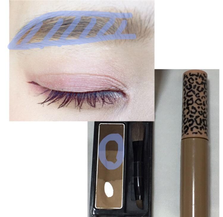 アイブロウパウダーの濃い色と中間色を混ぜて眉毛を書きマスカラをします