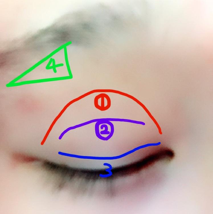 ①にベースとなるベージュ系のアイシャドウ。 ②の二重幅に濃いベージュ系または薄いブラウン。 ③に濃いめのブラウンを載せます。  ④は眉毛のハイライトとしてホワイト系(マット系)を載せてください。