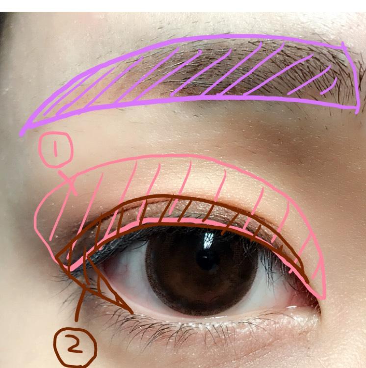 眉毛は眉下をまず平行に書き、上の眉毛とつなげるように書く。眉頭の方をアイブロウパウダーで軽く書き、アイブロウマスカラをつける。