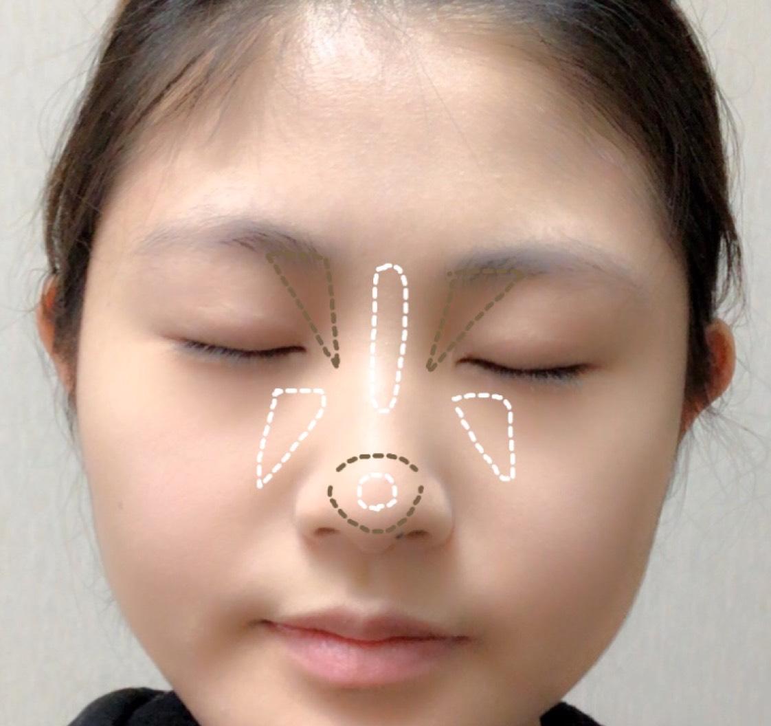セザンヌ下地→ケイト→キャンメイクのパウダー  の後にノーズシャドウ(茶)とハイライト(白)にのせます。 ノーズシャドウ濃いめで!!  鼻の頭にノーズシャドウを乗せることで丸っこい鼻になれます。