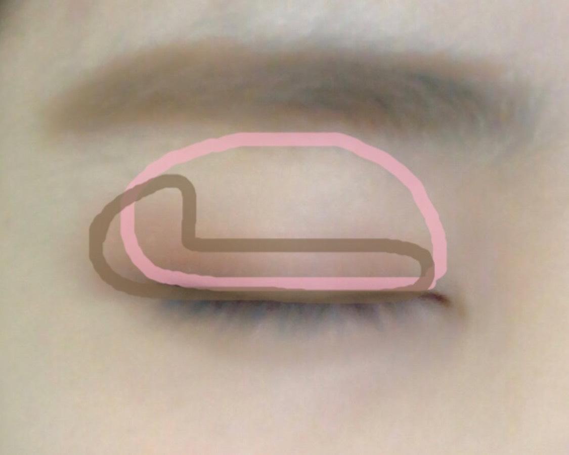 1の薄ピンクをまぶた全体に塗ります。 2の茶色を目尻から二重幅に和式便器を横から見た形に塗ります。