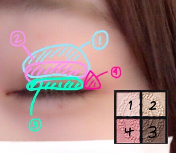 アイライン まつ毛との隙間を埋めるように塗ります。  アイシャドウ 肌に近い色をアイテープの上に乗せると、後で引くダブルラインが自然に見えます。