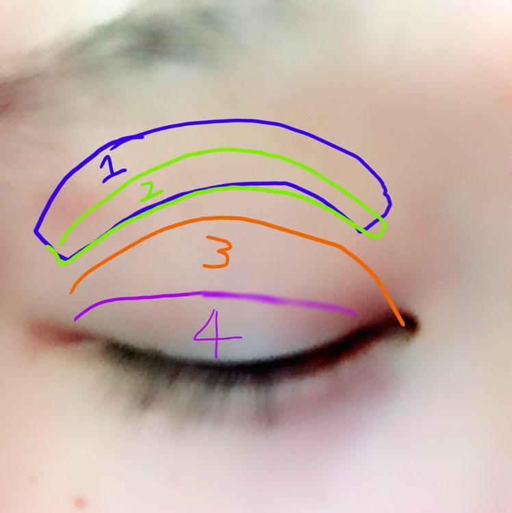 そして!個人的にポイントはアイシャドウ!彫り深い目を作りたいので、1→薄めのブラウン 2→少し濃いめのブラウン 3→ベージュ 4→ボルドー系のレッドを入れます。 4は目尻に入れそれを目頭向きにぼかすとグラデーションができます。 そして、クリースの部分に濃いブラウンシャドウでダブルラインを書きますがシャドウで書くのは自分の目の範囲にして、はみ出して各部分はダブルフェイカーラインでかきます。