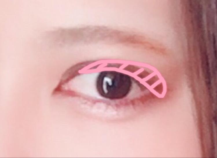 次に右上のピンクを黒目から目尻くらいまで薄く塗ります。 ほんのり色づく程度でOKです(  '  '  )