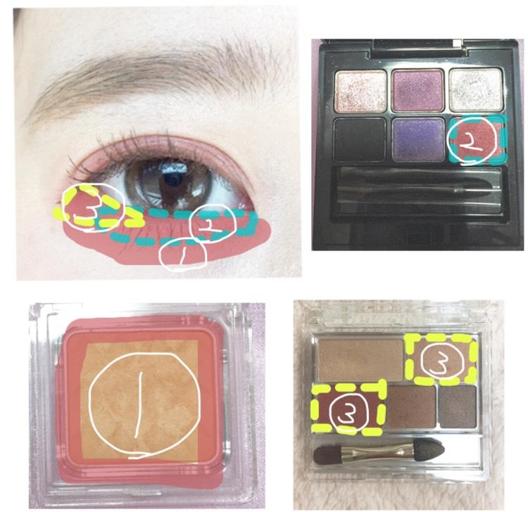 右下 キャンメイク マルチアイズ03  涙袋全体に①を塗り目頭から黒目の終わりまで②を塗ります目尻から黒目まで三角を意識して③を塗ります