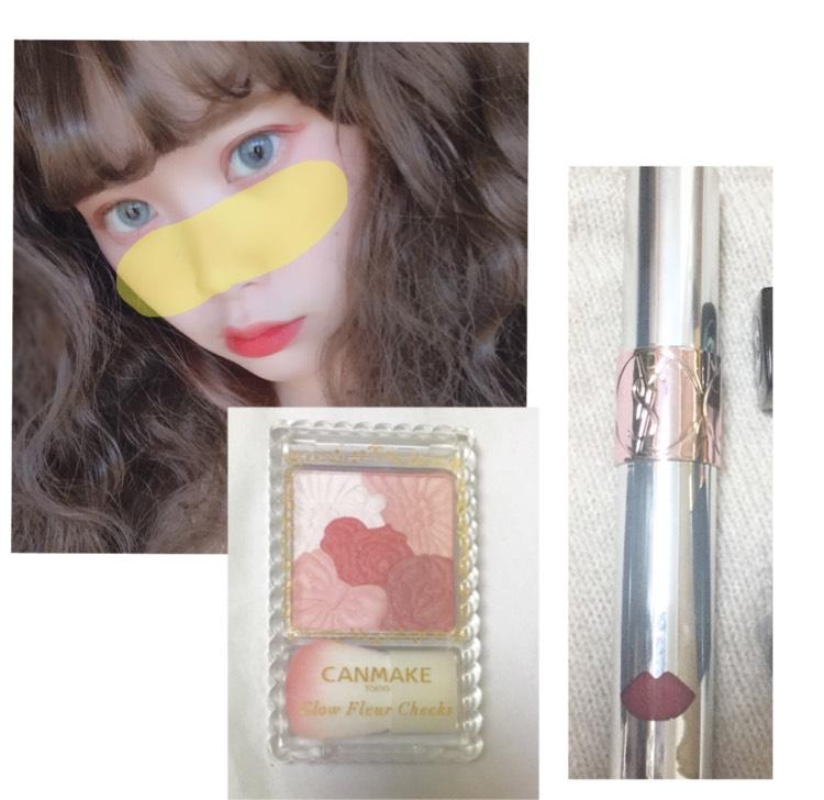 チークを少し上気味にほっぱたと鼻をつなげて濃いめに塗ります 口紅はいつも通り塗ります  キャンメイク グロウフルールチークス#8 ysl ウォーターカラーバーム#11