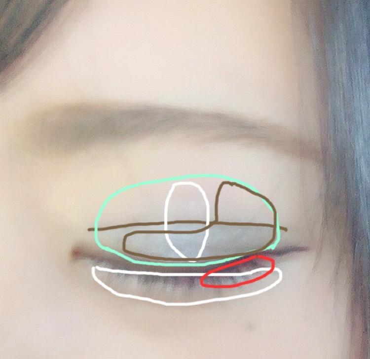 図のようにアイシャドウを塗り、二重の線に沿ってダブルラインフェイカーで線を引きます。