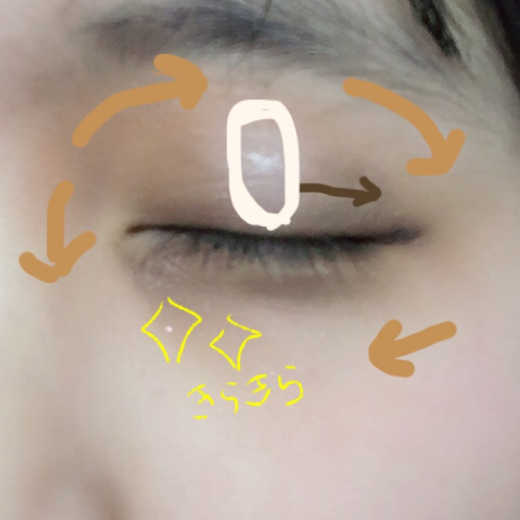 ブラウンで囲みます。その際に眉間にもしておくと鼻が高く見えます。目の中央には白色をのせ、目を明るく、丸く見せます。 キラキラは画像の通りです!