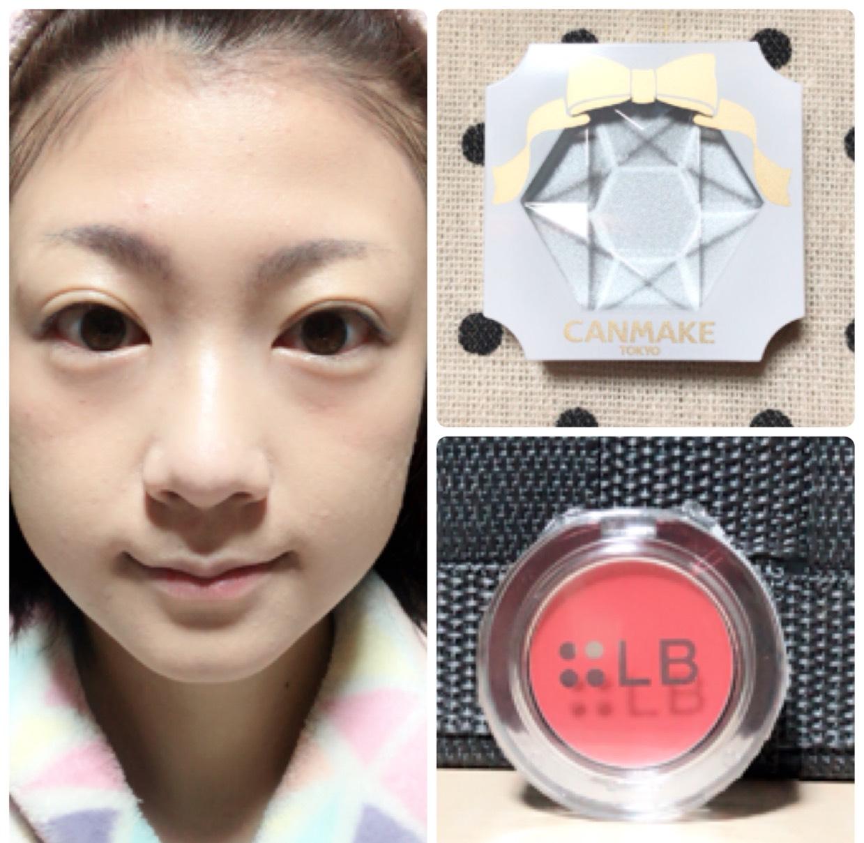 鼻筋、鼻筋の脇、眉の上、Cゾーンにクリームハイライトを チークはコーラル系を使用します。