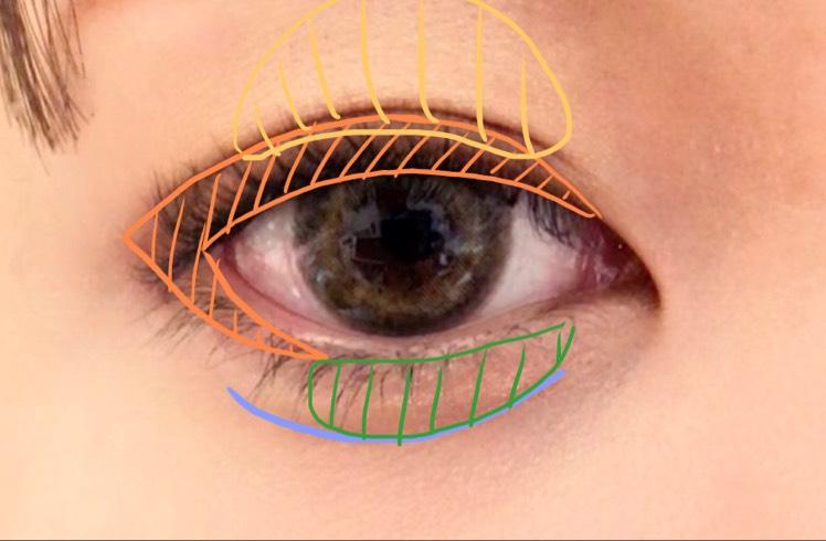 VISEE グロッシーリッチアイズ PK-2のみつかいます。  オレンジ→一番濃いブラウンをくの字になるように塗ります。 二重の部分は二重幅と同じくらいまで塗ります。 黄色→ゴールドを指にとって黒目の上あたりにぽんぽんと軽くつけます。(少しキラキラする程度に)
