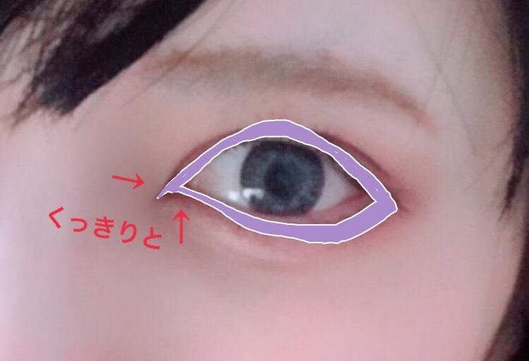 右下の濃い色で全体を囲みます。 黒目の上と下まぶた3分の1は太めに。 ひし形っぽくなるように意識して塗ります。 目頭の内側の方までしっかり塗ります。